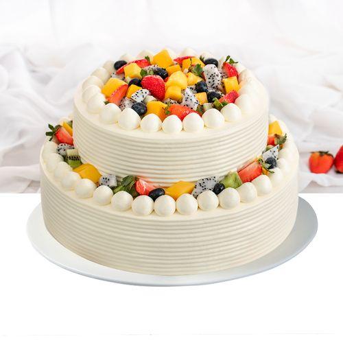 【双层】6磅鲜果多多-双层动物奶油水果蛋糕