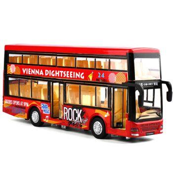 儿童公交车玩具车公共汽车双层巴士玩具仿真合金车模型男孩大巴车