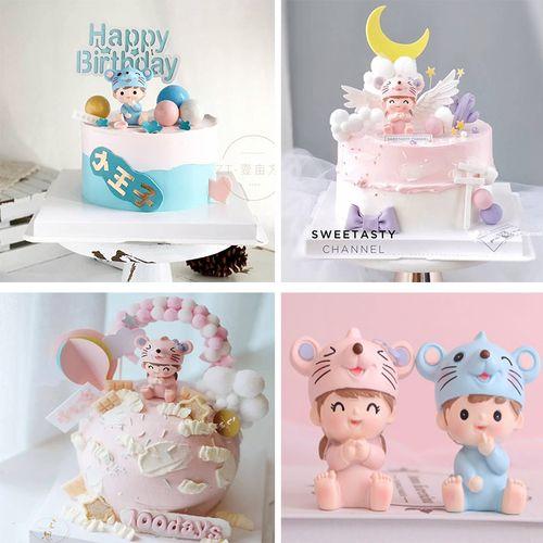 蛋糕装饰男女鼠宝宝摆件周岁生日派对老鼠可爱家居车
