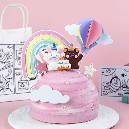 烘焙蛋糕装饰摆件小熊小兔派对生日软陶插件卡通小可爱甜品装扮