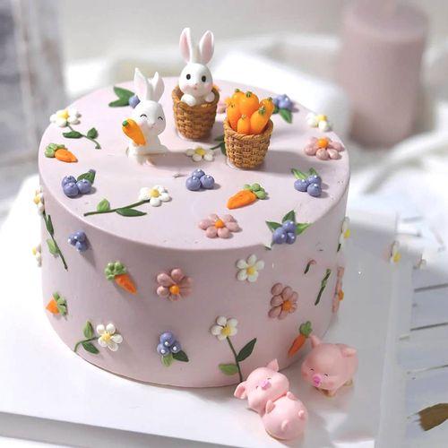 烘焙网红小兔子装饰摆件可爱小猪胡萝卜儿童宝宝生日