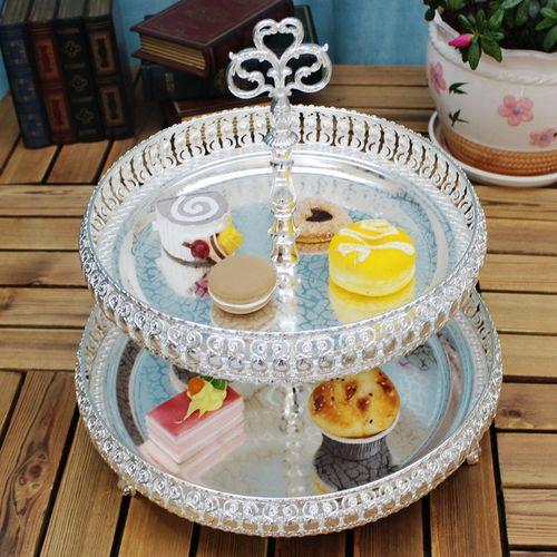 欧式金属水果双层盘下午茶双层甜品蛋糕盘多色两层点心干果盘架子