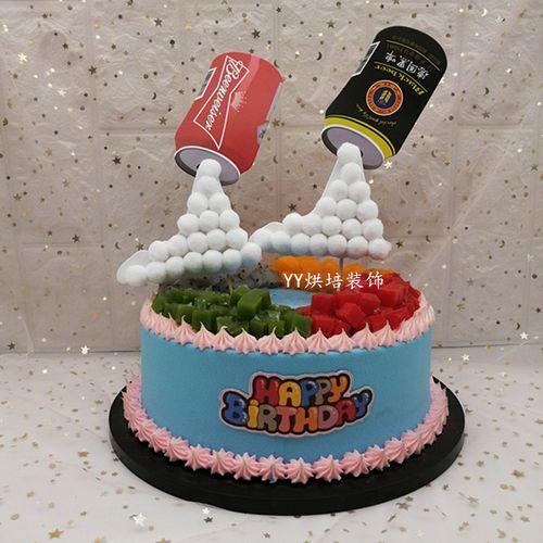 新品创意啤酒蛋糕插牌仿易拉罐悬浮啤酒罐生日蛋糕
