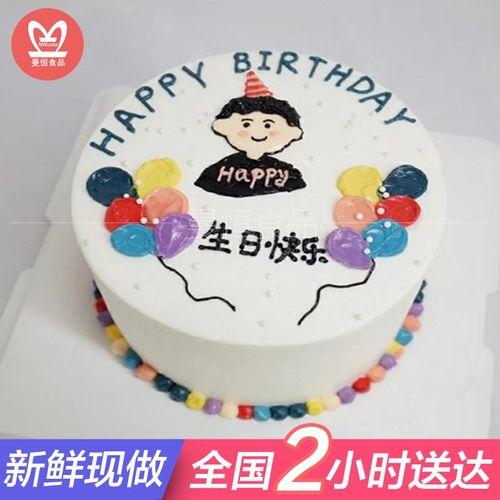 订做送男女朋友老公老婆表白手绘520蛋糕 m款 生日快乐(可换女生头)