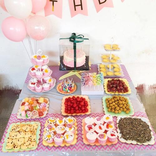 一次性盘子塑料 硬质蛋糕餐具甜品摆台布置用品烫金边