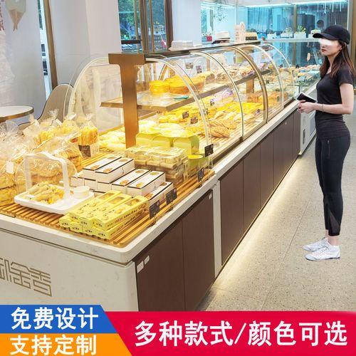 面包展示柜中岛柜烘焙店蛋糕货架展柜边柜镀钛甜品糕点架子展示架