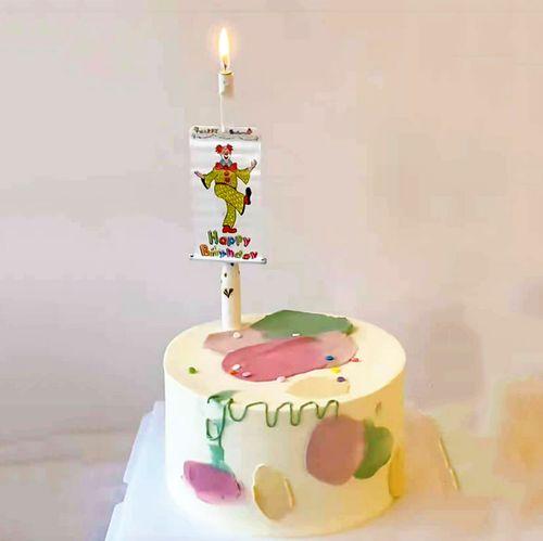蛋糕卢网红同款惊喜小丑横幅蜡烛蛋糕插牌新奇蜡烛生日惊喜装饰