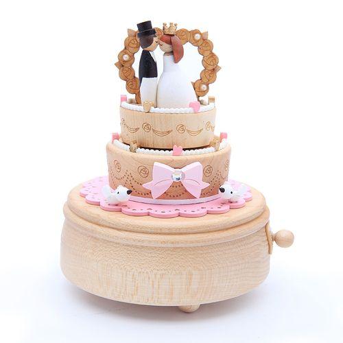 jeancard音乐盒八音盒木质结婚蛋糕送女生女孩女友