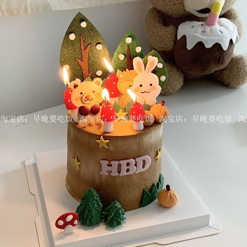 韩国ins可爱蘑菇造型生日蛋糕蜡烛装饰烘焙卡通摆件