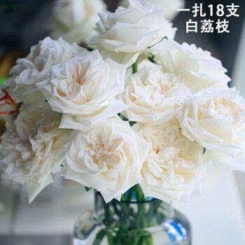 国产白色玫瑰鲜花直批坦尼粉雪山白荔枝婚礼婚庆家用水养鲜切花 白