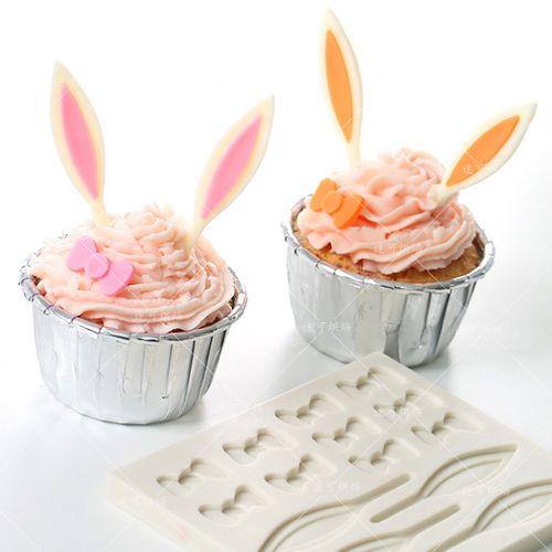 兔耳朵蝴蝶结巧克力插片模翻糖蛋糕硅胶模具粘土干佩斯烘焙工具fl