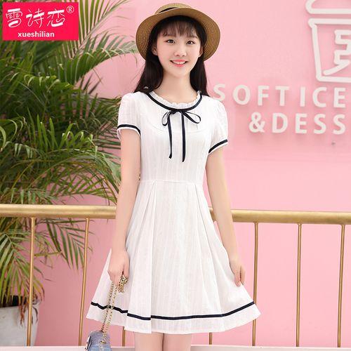 雪诗恋夏装新款韩版初中高中学生连衣裙学院风白色小