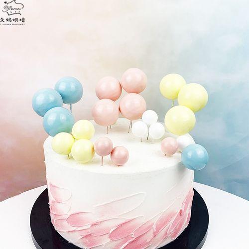 烘焙蛋糕装饰ins风马卡龙泡沫圆球粉色蓝色黄色装饰球
