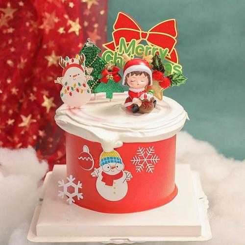 圣诞节蛋糕装饰圣诞小孩生日摆件圣诞帽铃铛圣诞树礼物盒插牌插件