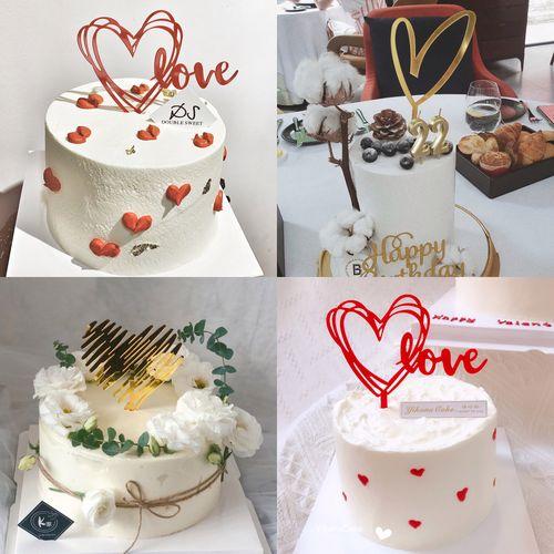 蛋糕装饰 520 节 爱心亚克力情侣婚礼蛋糕甜品台装饰品插件