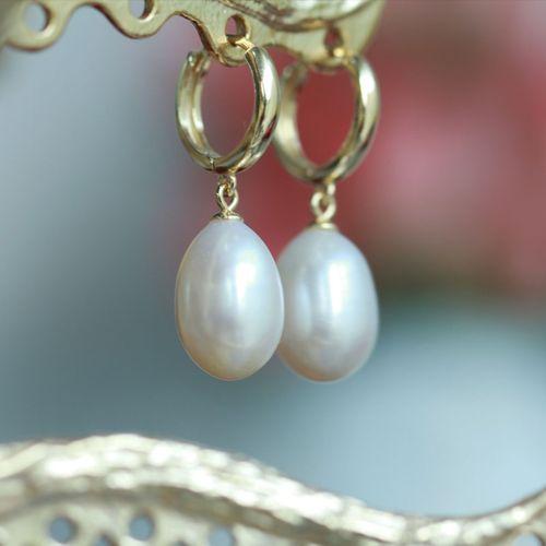 vinatge 法式耳扣 珍珠泪防过敏925纯银镀金水滴珍珠