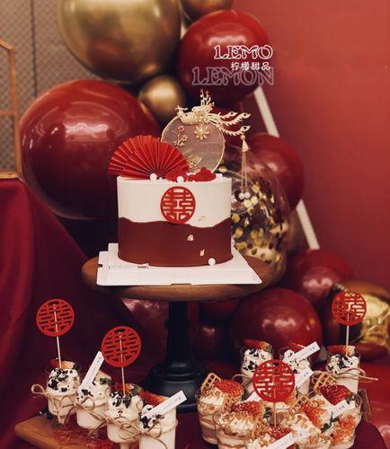 中国风婚礼蛋糕装饰大红色双喜插牌凤凰红折扇插件订婚派对甜品台
