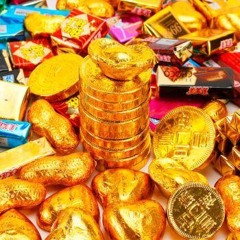 零食礼包2斤金币金条金元宝黄金黑巧巧克力蛋糕装饰庆