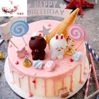 仿真生日蛋糕模型样品模具假蛋糕摆件生活日用居家创意 可爱布朗熊 8