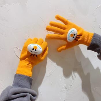 韩版ins手套女冬季纯色百搭学生可爱五指毛线针织情侣