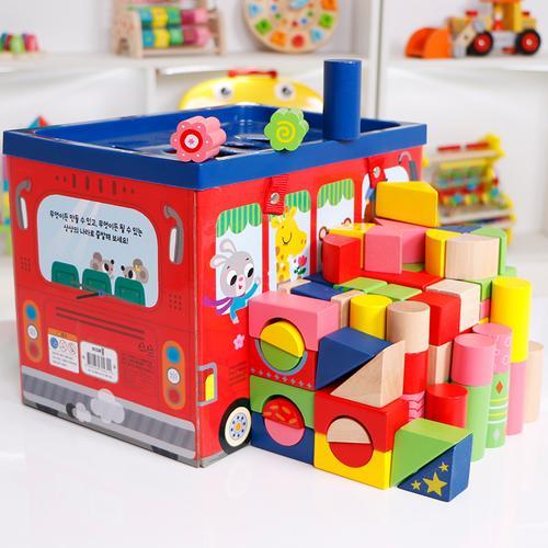 宝木质大块积木女孩婴儿一岁半男孩宝儿童积木玩具1-2