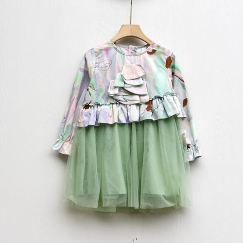 s吾系列110-150春装 品牌童装折扣/女童长袖蕾丝连衣裙1079绿粉