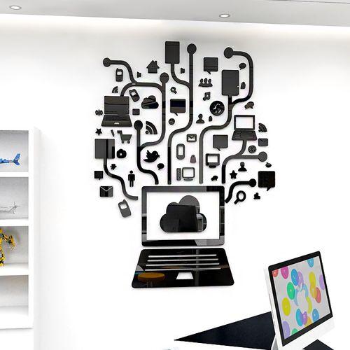 学校科技室笔记本电脑少儿编程培训班墙面装饰3d亚克力立体墙贴画