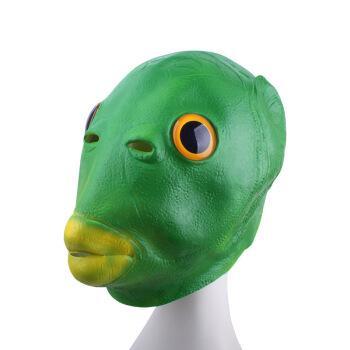 乳胶面具抖音整蛊搞怪绿鱼人头套表情怪怪鱼乳胶头套