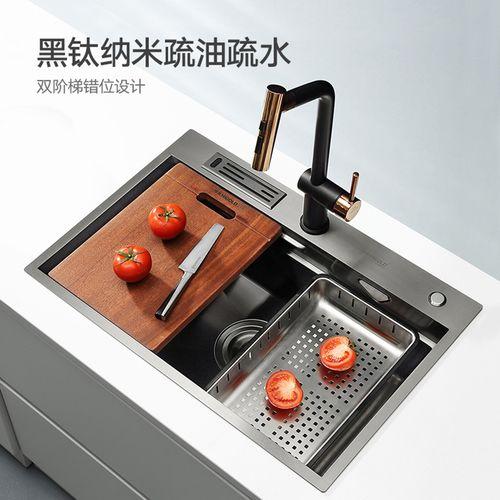 悍高厨房黑钛纳米手工水槽304不锈钢洗碗池台上台下洗菜盆套餐
