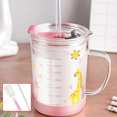 家用儿童牛奶杯刻度水杯带盖杯子带把早餐吸管玻璃可