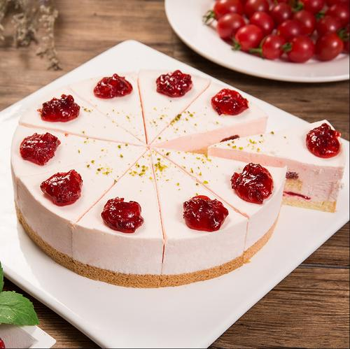 普利欧樱桃芝士蛋糕8英寸10切片 冷冻蛋糕 咖啡馆茶歇