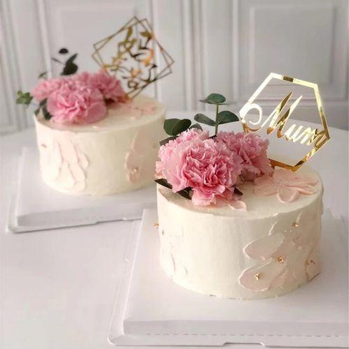 母亲节创意插排亚克力金色生日蛋糕装饰插件网红简约