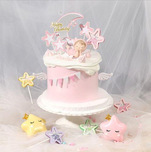 生肖牛宝宝蛋糕装饰周岁满月天使牛宝宝生日派对蛋糕