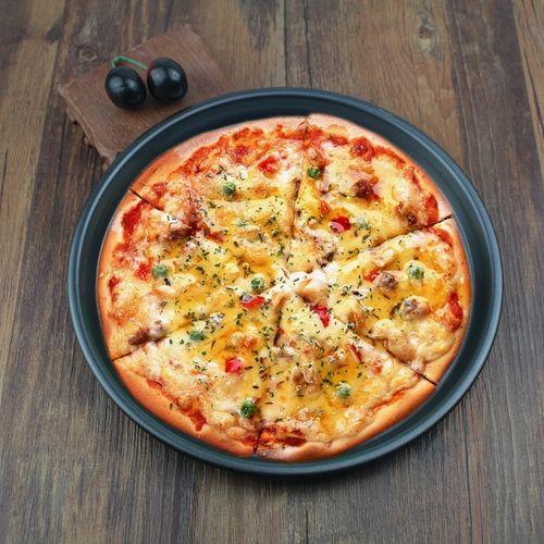 加厚不粘碳钢9/10/11/12寸家用披萨盘不沾图层披萨烤盘pizza烤
