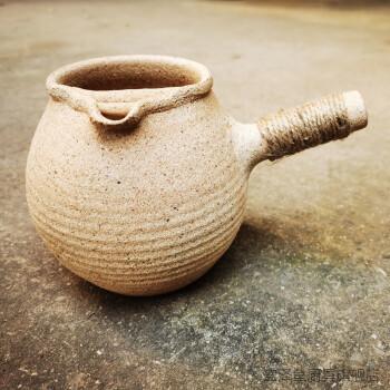 柴烧炒茶罐手工粗陶侧把公道杯明火烤茶罐雷鸣茶烘焙煮茶罐 土窑烤茶
