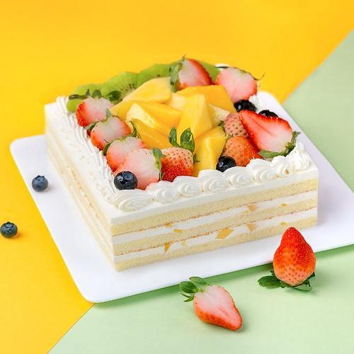 熊猫不走蛋糕 百果园猕猴桃芒果草莓蓝莓鲜果奶油蛋糕