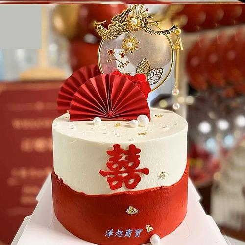 婚礼蛋糕装饰结婚插件红喜字插排装饰品中国风烘焙凤凰折扇订婚