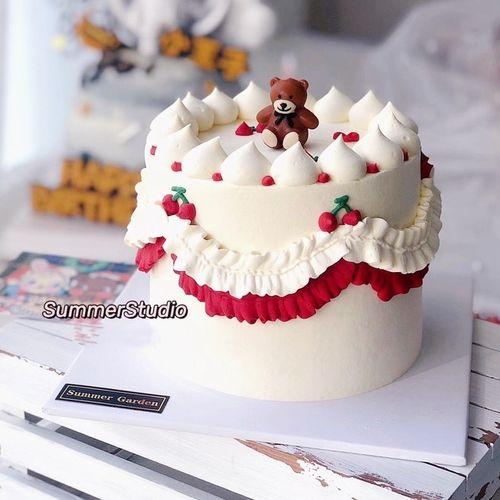 熊插牌摆件装饰 韩国ins卡通小熊 可爱棕熊 生日蜡烛儿童派对蛋糕