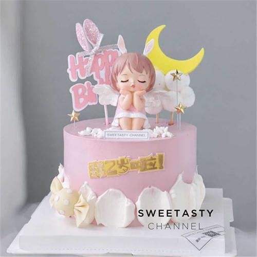 网红女生少女主题可爱公主生日蛋糕装饰摆件天使翅膀