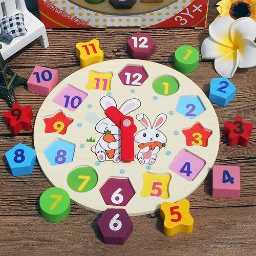 教具幼儿园儿童礼物木制益智玩具小形状时钟积木彩色