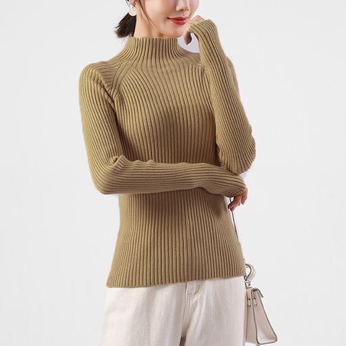 拉夏贝尔旗下新款上衣女款半高领针织打底衫毛衣宽松女