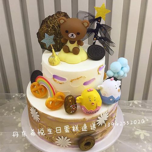 丹东本地同城订希悦双层生日翻糖创意蛋糕速递东港