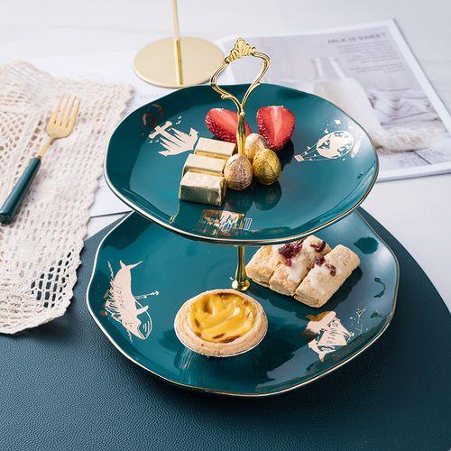 北欧轻奢陶瓷串盘双层点心盘创意现代客厅水果盘下午茶糖果蛋糕架