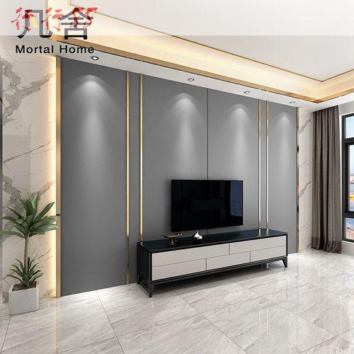 2020电视墙硬包客厅沙发现代简约影视墙装饰轻奢