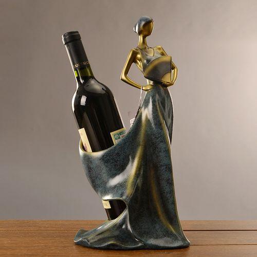 抖音新款欧式家居客厅摆件红酒架树脂工艺品家居装饰品创意女神红