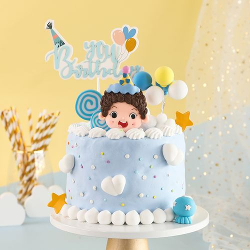 烘焙蛋糕装饰生日帽男孩女孩软陶插件小动物派对帽