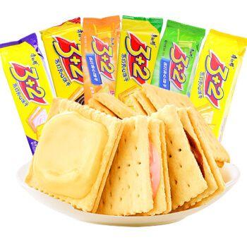 2苏打芝士夹心三加二饼干奶油柠檬味6袋办公室休闲零食品 混合口味6包