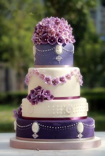 仿真翻糖紫色绣球花多层翻糖蛋糕模型 生日蛋糕 婚礼