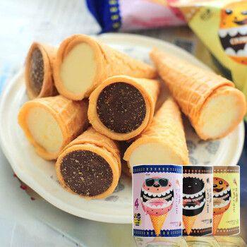 乔凡娜大爆浆甜筒卷奶油巧克力夹心 冰淇淋状蛋筒儿童