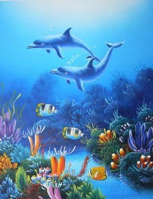 超清晰彩色十字绣重绘图纸/源文件海豚 海底世界